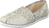 Toms - Seasonal classic youth Silver crochet glitter